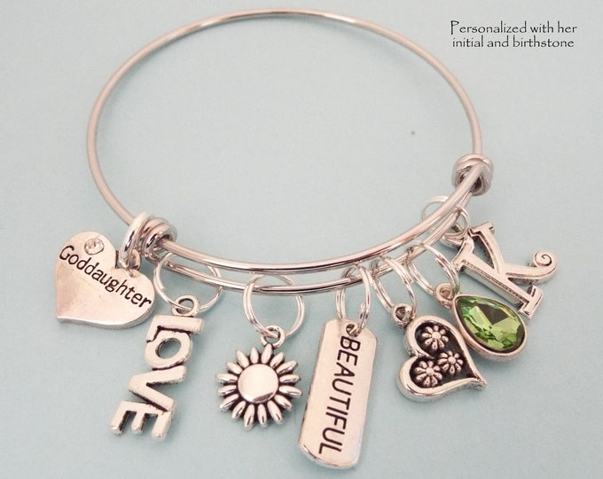 Goddaughter Gift, Goddaughter Charm Bracelet, Personalized Gift, Gift for Her,  Godmother to Goddaughter Jewelry, Jewelry Gift, Jewelry