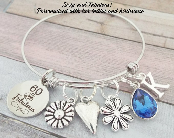 Gift for Friend Turning 60, 60th Birthday Gift, 60th Birthday Bracelet, Birthday Gift for Friend, Personalized Gift, Personalized Jewelry