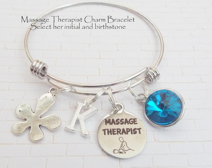 Gift for Massage Therapist, Gift for Masseuse, Massage Therapist Charm Bracelet, Gift Ideas for Women, Gifts for Her, Custom Jewelry