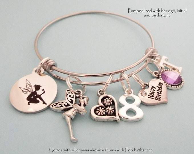 8th Birthday Girl Charm Bracelet, Personalized Jewelry, Daughter Birthday, Birthstone Jewelry, Initial Bracelet, Gift for Her, Granddaughter