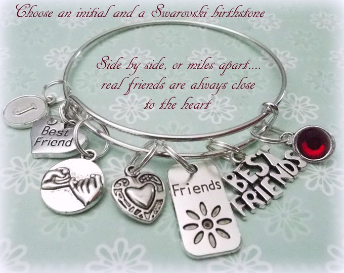 Best Friend Bracelet, Gift for Best Friend, Best Friend Charm Bracelet, Gift Ideas for Girlfriend, Gift Ideas for Her, Silver Bangle