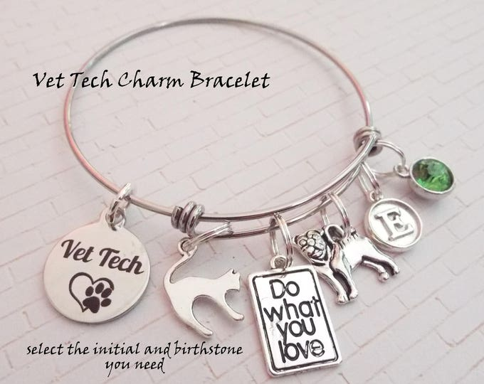 Veterinarian Charm Bracelet, Personalized Gift Ideas for Vets, Vet Gift Ideas, Thank You Gift for Veterinarians, Vet Tech Gift Ideas,