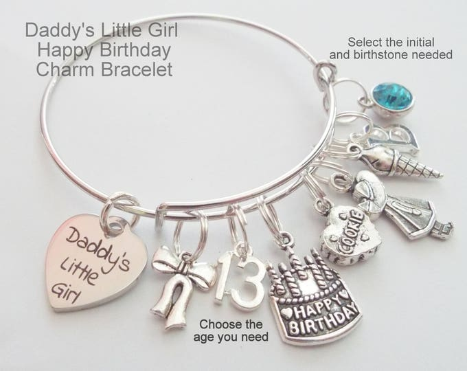 Daddy's Little Girl Charm Bracelet, Father to Daughter Gift, Birthday Gift for Daughter, Happy Birthday Gift for Girl, Daughter Gift