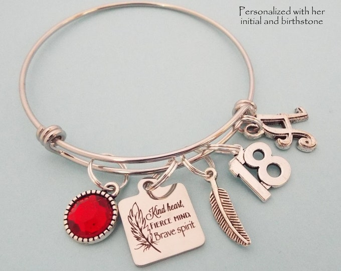 18th Birthday Girl Gift, Personalized Teenage Daughter Birthday, Girl Turning 18, Initial Bracelet, Statement Jewelry, Birthstone Jewelry