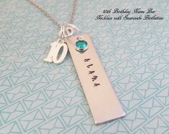 10th Birthday Gift For Her Girl Turning 10 Happy Year Old Handstamped Name Bar Necklace Daughter Niece