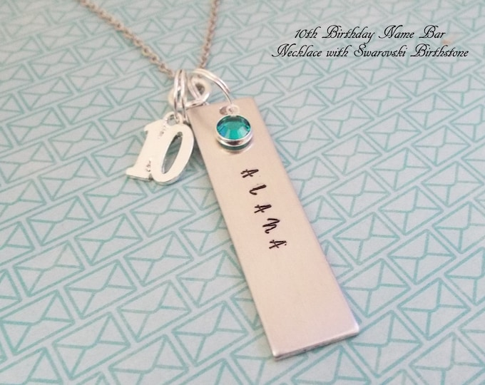 10th Birthday Gift for Her, Girl Turning 10 Gift, Happy Birthday 10 Year Old, Handstamped Name Bar Necklace, Daughter Birthday Gift, Niece