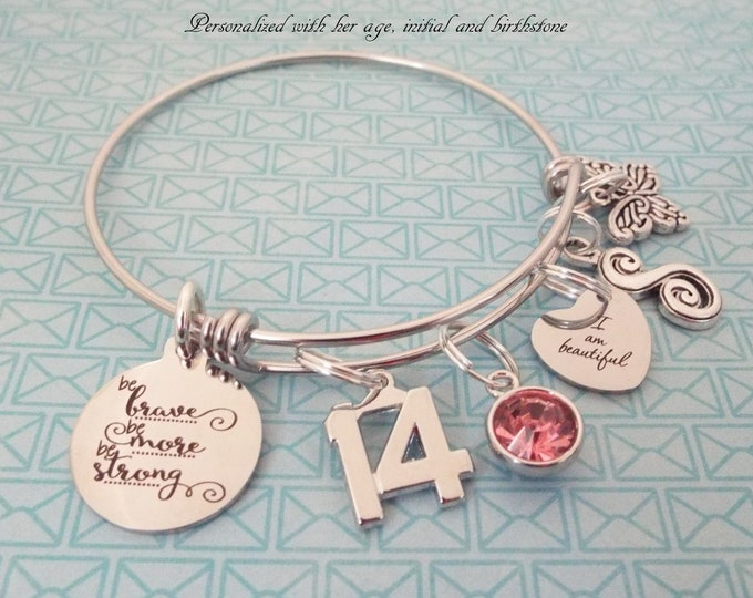 Personalized Jewelry, 14th Birthday Gift, Girl's Birthday Charm Bracelet, Teenage Girl Gift Ideas, Teenager Jewelry, Personalized Gift