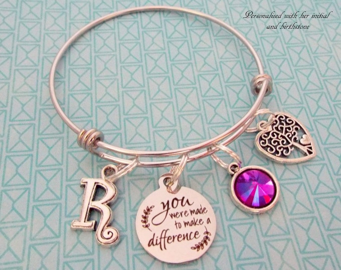 Personalized Graduation Charm Bracelet, Teacher Graduation, Nurse Graduate, Birthstone Jewelry, Initial Bracelet, Gift for Her, College Grad