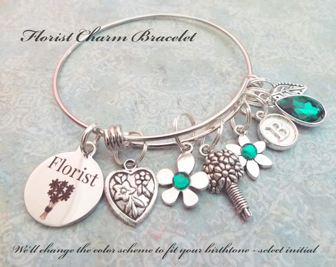 Gift for a Florist, Thank You Gift for Florist, Wedding Party Thank You, Florist Charm Bracelet, Floral Jewelry, Custom Gift for Her