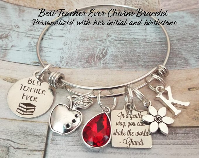 Teacher Gift, Gift for Teacher, Thank You Teacher Charm Bracelet, Personalized Gift, Custom Jewelry, Best Teacher Ever, Gift for Her