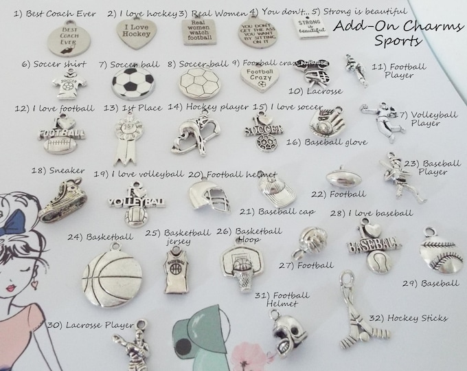 Sports Charms, Add On Charms for Charm Bracelets, Soccer Charms, Football Charms, Volleyball Charms, Basketball Charms, Golf Charms