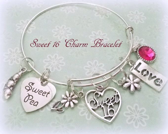 16th Birthday Gift, Sweet 16 Charm Bracelet, Turning 16 Gift for Teenage Girl, 16th Birthday Gift, Birthday Gift for Sweet 16, Sweet Pea