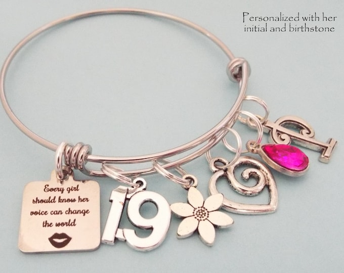 19th Birthday Girl Gift, Charm Bracelet for Girl Turning 19, Teenage Girl Gift, Teenager Jewelry, Gift for Her, Birthstone Initial Gift