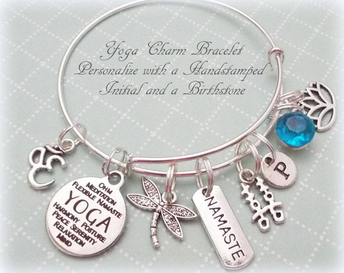 Yoga Lover Jewelry Gift, Namaste Jewelry, Boho Jewelry, Personalized Jewelry Gift for Her, Yoga Charm Bracelet, Ohm Yoga Bracelet, Gift Her