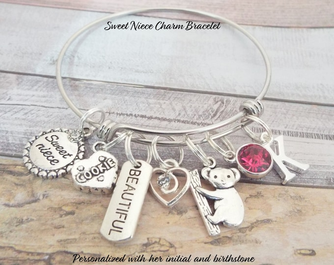 Birthday Gift for Niece, Niece Birthday, Sweet Niece Charm Bracelet, Aunt to Niece Jewelry, Personalized Gift, Custom Jewelry, Gift for Her