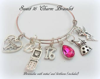 Sweet 16 Charm Bracelet 16th Birthday Gift Girl Personalized For Sixteen Year Old Jewelry