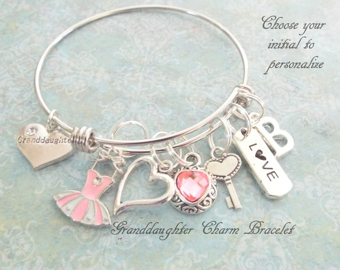 Gift for Granddaughter, Granddaughter Charm Bracelet, Personalized Gift for Granddaughter's Birthday, Happy Birthday Granddaughter
