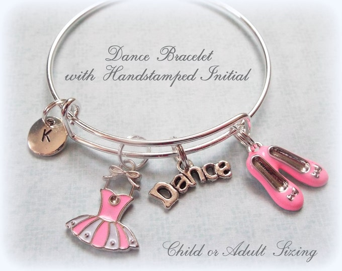 Dancer Charm Bracelet, Gift for a Dancer, Personalized Initial Jewelry, Ballet Dancer Charm Bracelet, Custom Bracelet for Girl, Dancing Girl