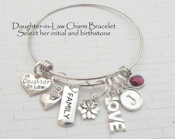 Daughter in Law Gift, Personalized Gift, Wedding Gift for New Daughter in Law, Daughter in Law Charm Bracelet, Personalized Jewelry