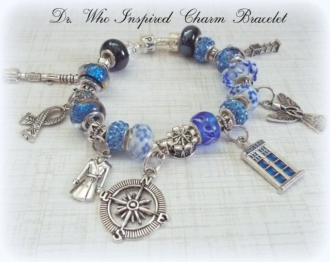 Doctor Who Charm Bracelet, Gift for Dr Who Fans, Dr Who Jewelry, Doctor Who Jewelry, Gifts for Doctor Who Fan, Doctor Who Fan Gift