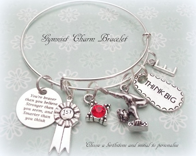 Gymnast Gift, Gift for Gymnast, Gymnast Charm Bracelet, Congratulations for Gymnast, Personalized Jewelry Gift for Her, Gift for Daughter