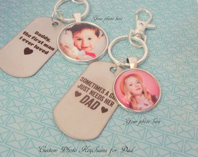Dad Keychain Gift, Daughter to Father Gift, Personalized Gift, Dad Gift from Daughter, Custom Photo Keychain for Dad, Gift for Him, Dad Gift