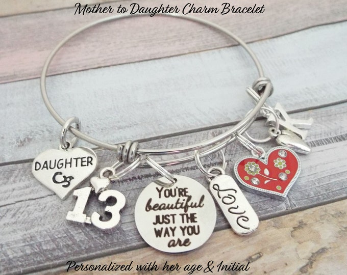 Personalized Daughter Birthday Gift, Charm Bracelet, Teenage Girl, Teenager Jewelry, Custom Bracelet, Gift from Mom, Mother Gift, Girl Gift