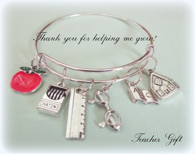 Thank You Teacher Gift, Teacher Appreciation, Thank You Gift, Gift for Teacher, Personalized Gift, Gift for Her, Teacher Charm Bracelet