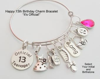 13th Birthday Girl Charm Bracelet Gift For Turning 13 Year Old Custom Jewelry Girls