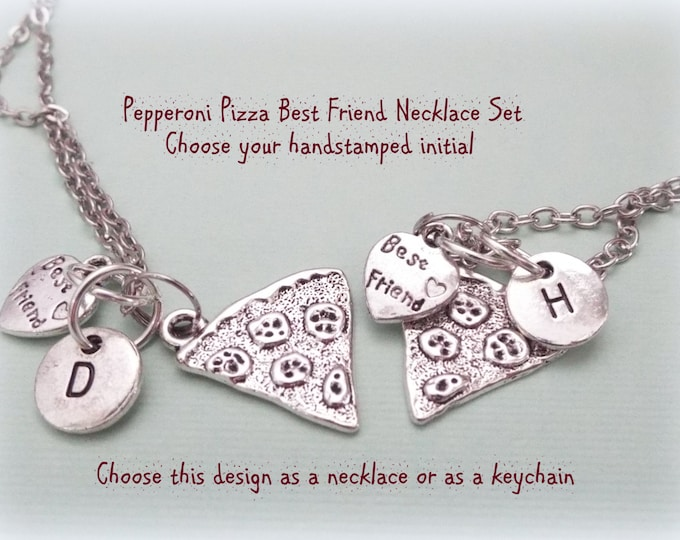Best Friend Pepperoni Pizza Necklaces, Best Friend Gift, Personalized Gift, Gift for Her, Custom Jewelry, BFF Gift, Bestie Jewelry