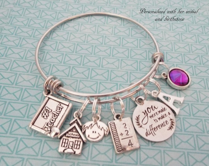 Graduation Gift for New Teacher, Personalized Graduate Charm Bracelet, Gift for Her, Teacher Graduating Gift, Thank you Teacher Gift