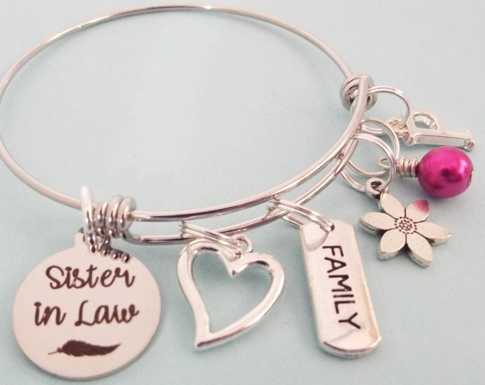 Sister in Law Gift, Personalized Jewelry, Gift for Sister-in-Law, Sister Bridal Gift, Wedding Party Charm Bracelet, Gift for Her, Girl Gift