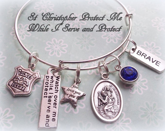 Police Officer Charm Bracelet, Gift for Police Officer, Personalized Police Officer Gift, Personalized Jewelry, Police Officer Gift