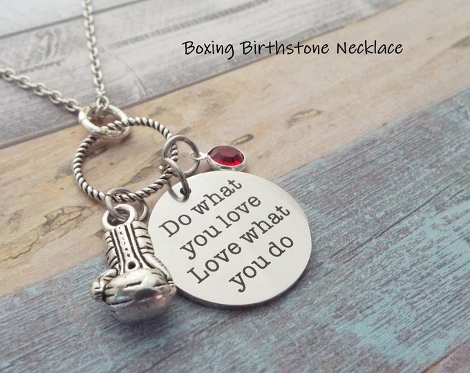 Sports Jewelry, Boxing Necklace, Birthstone Jewelry, Personalized Gift, Gift for Her, Custom Jewelry, Woman's Jewelry, Girl's Sports Gift