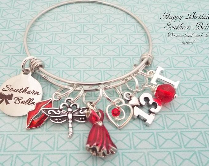 13th Birthday Girl, Girl Turning 13 Charm Bracelet, Teenage Girl Birthday, Personalized Gift, Custom Jewelry, Silver Bracelet, Gift for Her