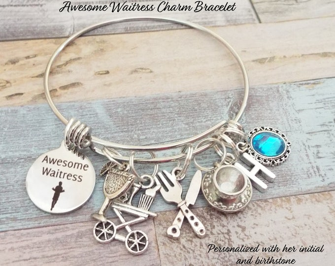 Awesome Waitress Charm Bracelet, Waitress Gift, Personalized Gift, Custom Jewelry, Gift for Her, Waitress Accessories, Women's Jewelry Gift