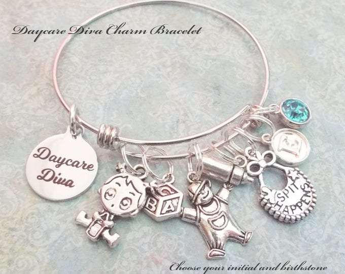 Gift for Daycare Worker, Thank You Gift for Daycare Worker, Gift for Daycare Teacher, Daycare Diva Charm Bracelet, Personalized Jewelry