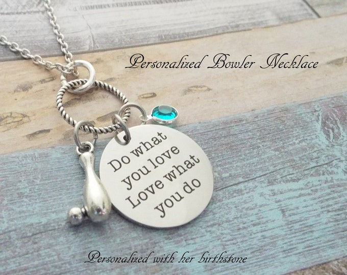 Bowler Necklace, Bowling Birthstone Gift, Sports Jewelry, Personalized Gift, Custom Jewelry, Silver Necklace, Gift for Her, Women's Sports