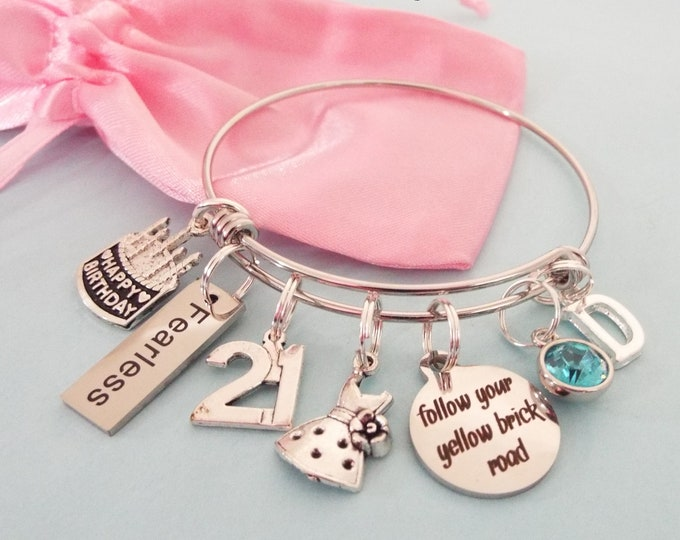 Girl 21st Birthday Charm Bracelet, Birthday for Her, Birthstone Gift Turning 21, Personalized Gift, Initial Bracelet, Daughter Birthday Gift