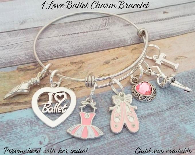 Ballet Dancer Charm Bracelet, Gift for Ballerina, Dancer Girl Gift, Personalized Gift, Gift for Her, Gift for Ballet Girl, Ballet Girl Gift