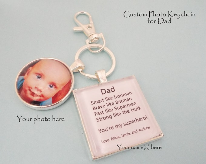 Custom Keychain for Father, Christmas Gift for Dad, Child Gift to Dad, Daddy Gift from Children, Gift for Him, Personalized Gift for Him