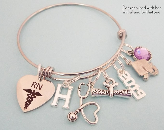 Nurse Graduation Personalized Gift, RN Graduate Charm Bracelet, Nursing School Woman's Graduation Gift. Gift for Her, Girl Graduating