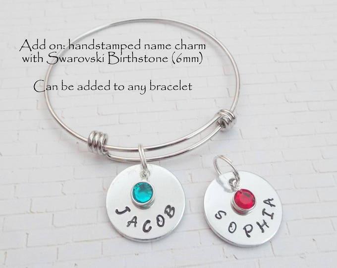 Handstamped Name Charm Add On, Charm Bracelet Add On, Name Charm Add On for Bracelet, Gift for Her, Birthstone Jewelry, Custom Jewelry