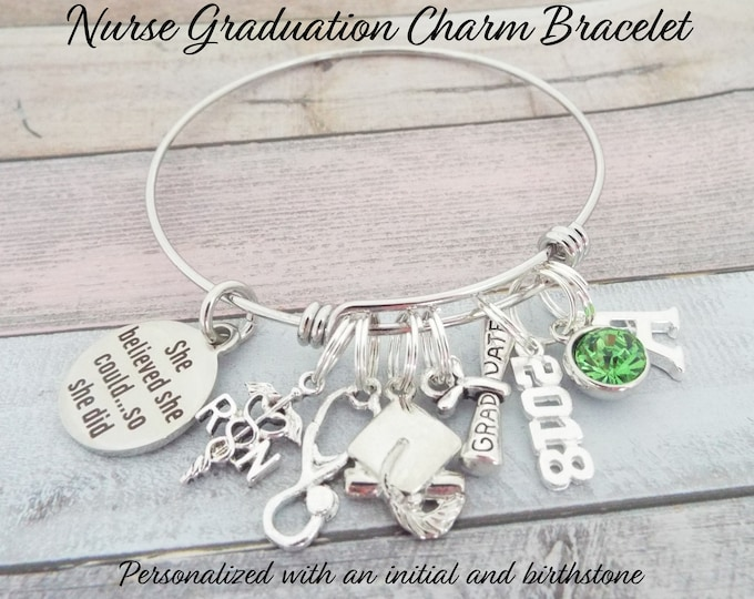 Nurse Graduation Gift, RN Graduation, She Believed She Could Charm Bracelet, Gift for Nurse Graduate, Gift for New Nurse Graduating, for Her