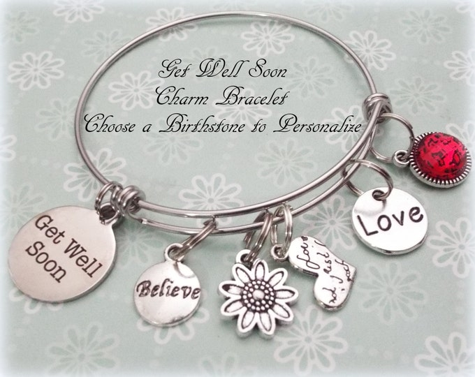Get Well Gift, Gift for a Sick Friend, Get Well Soon Charm Bracelet, Personalized Jewelry, Gift for Hospitalized Friend, Gift for Her