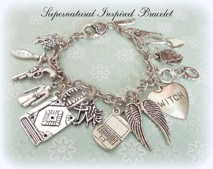Supernatural Charm Bracelet, Supernatural Gift Ideas, Gifts Ideas for Her, Personalized Jewelry, Gift for Supernatural Fans, Charm Bracelet