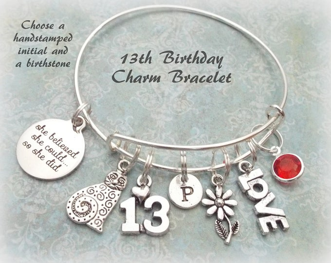 13th Birthday Charm Bracelet, Birthday Gift for 13 Year Old Daughter, Cat Charm Bracelet, Personalized Jewelry for 13th Birthday