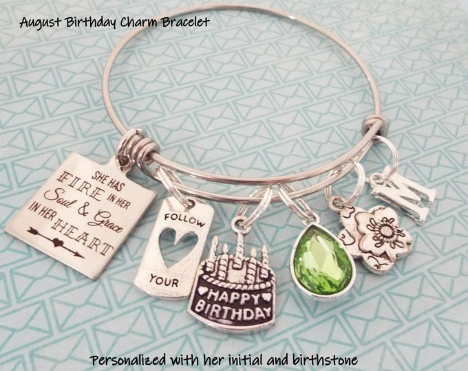 August Birthstone Jewelry, August Happy Birthday Girl, Personalized Birthday Gift for Her, August Birthday Gift, Gift for Daughter, Birthday