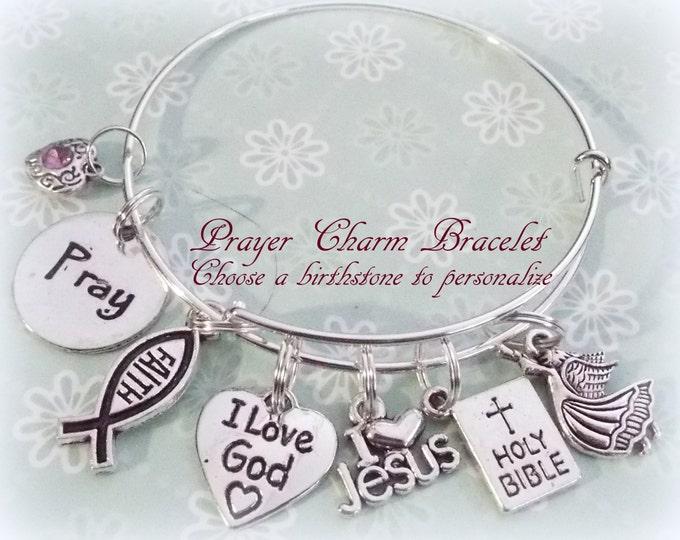 Prayer Bracelet, Faith Charm Bracelet, Spiritual Gift Ideas, Spiritual Charm Bracelets, Personalized Gift, Birthstone Jewelry, Faith Gift