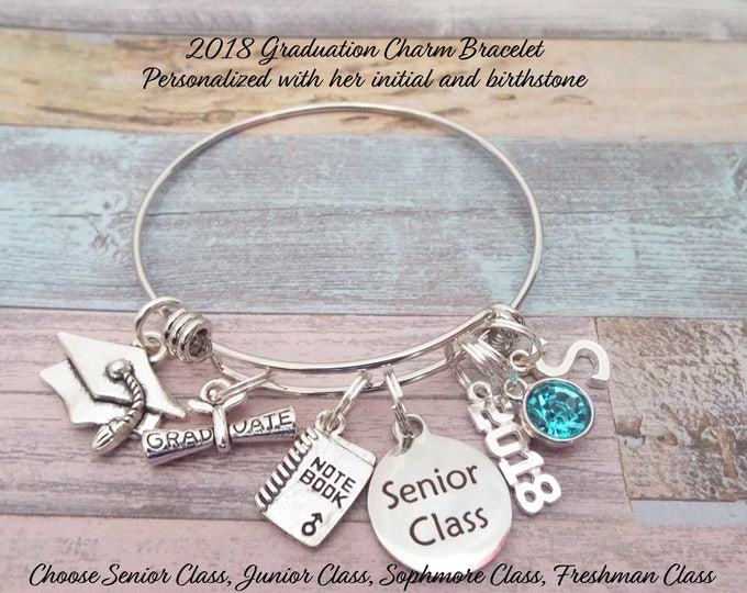Girl's Graduation Gift, Gift for Girl Graduating, High School Graduation, Senior Class Charm Bracelet, Personalized Gift, Graduation for Her